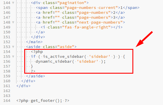 サイドバーウィジェットを表示するためのコード