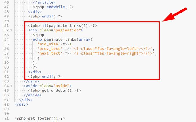 ページネーション作成のためのコードを記述